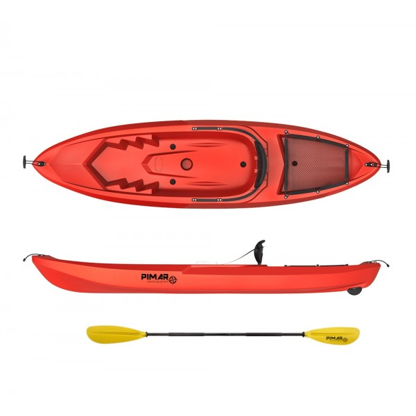 Kayak canoa pimar 10010 red da 266 cm + 1 gavone + 1 pagaia + 1 seggiolino sport