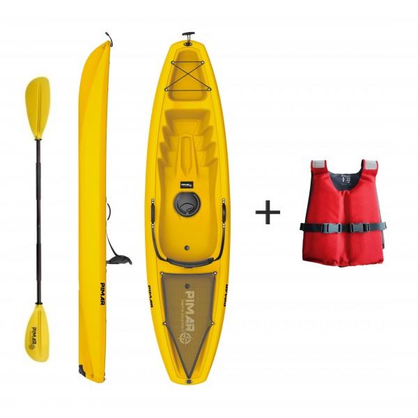 Kayak canoa pimar 10003   yellow da 266 cm + 1 gavone+ 1 pagaia + 1 seggiolino sport + giubbotto di salvataggio