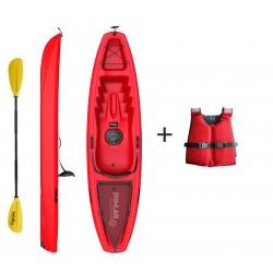 Kayak canoa pimar 10003  red da 266 cm + 1 gavone+ 1 pagaia + 1 seggiolino sport + giubbotto di salvataggio