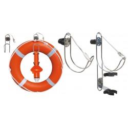 Porta salvagenti in acciaio inox con supporto per boetta luminosa